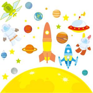 フリーイラスト, ベクター画像, EPS, 宇宙, 天体, 月, 惑星, ロケット, 宇宙船, 人工衛星, UFO, 星(スター), 地球, 火星, 水星, 金星, 木星, 土星