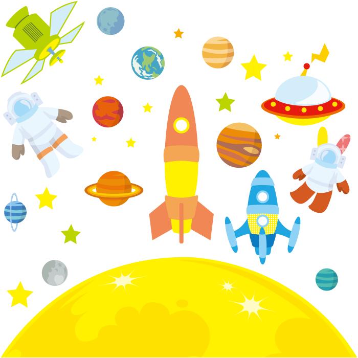 フリー イラスト月と惑星とロケットとUFOと宇宙飛行士