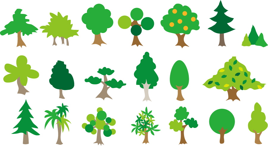 フリー イラスト色々な緑の木のセット