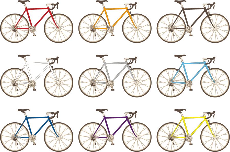 フリー イラスト色の違うロードバイクセット