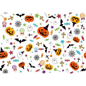 フリーイラスト, ベクター画像, AI, 背景, 年中行事, ハロウィン(ハロウィーン), 10月, 秋, ジャック・オー・ランタン, 幽霊(お化け), 魔女の帽子, 蜘蛛の巣(クモの巣), 十字架(クロス), 飴(キャンディ)