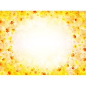 フリーイラスト, ベクター画像, AI, 背景, フレーム, 円形フレーム, 植物, 葉っぱ, もみじ(カエデ), 紅葉(黄葉), 秋