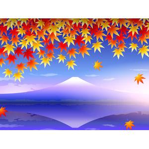 フリーイラスト, ベクター画像, AI, 風景, 自然, 山, 富士山, 日本の風景, 湖, 植物, 葉っぱ, もみじ(カエデ), 紅葉(黄葉), 秋, 落葉(落ち葉), 世界遺産, 霧(霞), 早朝