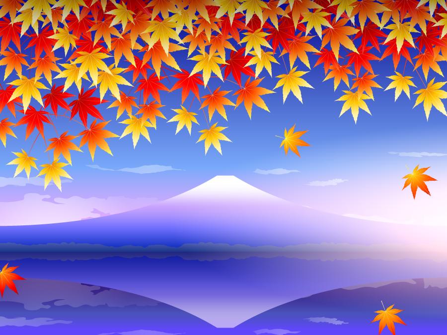 フリー イラスト紅葉と朝霧に包まれる富士山