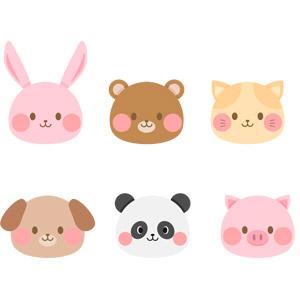 フリーイラスト, ベクター画像, AI, 動物, 哺乳類, 兎(ウサギ), 熊(クマ), 猫(ネコ), 犬(イヌ), ジャイアントパンダ, 豚(ブタ), 動物の顔