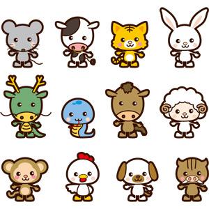 フリーイラスト, ベクター画像, AI, 干支(十二支), 動物, 鼠(ネズミ), 牛(ウシ), 虎(トラ), 兎(ウサギ), 龍(竜), 蛇(ヘビ), 馬(ウマ), 羊(ヒツジ), 猿(サル), 鶏(ニワトリ), 犬(イヌ), 猪(イノシシ)