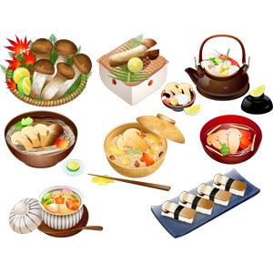 フリーイラスト, ベクター画像, AI, 食べ物(食料), 食用キノコ, 茸(キノコ), 菌類, 松茸(マツタケ), 料理, 松茸料理, キノコ料理, 日本料理, 和食