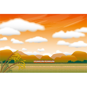 フリーイラスト, ベクター画像, EPS, 風景, 田舎, 稲穂, 水田(田んぼ), 秋, 夕焼け, 夕暮れ(夕方), 乗り物, 列車(鉄道車両), 汽車, 雲, 日本の風景