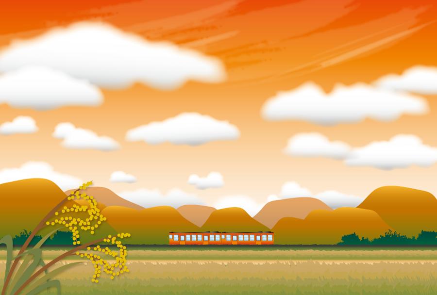 フリー イラスト夕焼けと秋の田舎の中を走る汽車
