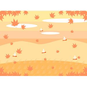 フリーイラスト, ベクター画像, AI, 風景, 自然, 植物, 葉っぱ, もみじ(カエデ), 紅葉(黄葉), 秋, 落葉(落ち葉), とんぼ(トンボ), 赤とんぼ(赤トンボ)