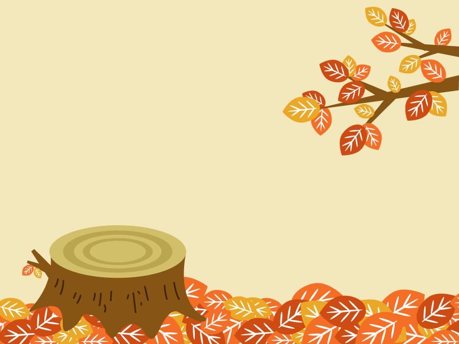 フリー イラスト落葉と切り株
