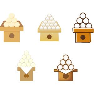 フリーイラスト, ベクター画像, EPS, 年中行事, お月見(観月), 秋, 9月, 食べ物(食料), 菓子, 和菓子, 月見団子, 団子(だんご)