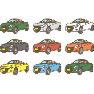 フリーイラスト, ベクター画像, AI, 乗り物, 自動車, 軽自動車, ダイハツ, ダイハツ・コペン