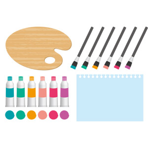 フリーイラスト, ベクター画像, EPS, 画材, パレット, 絵筆(画筆), 絵の具