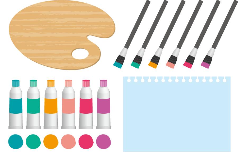フリー イラストパレットと絵の具の絵筆と画用紙
