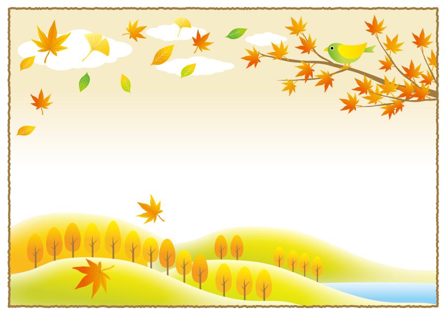 フリー イラスト枝に止まる鳥と落葉の舞う秋の風景