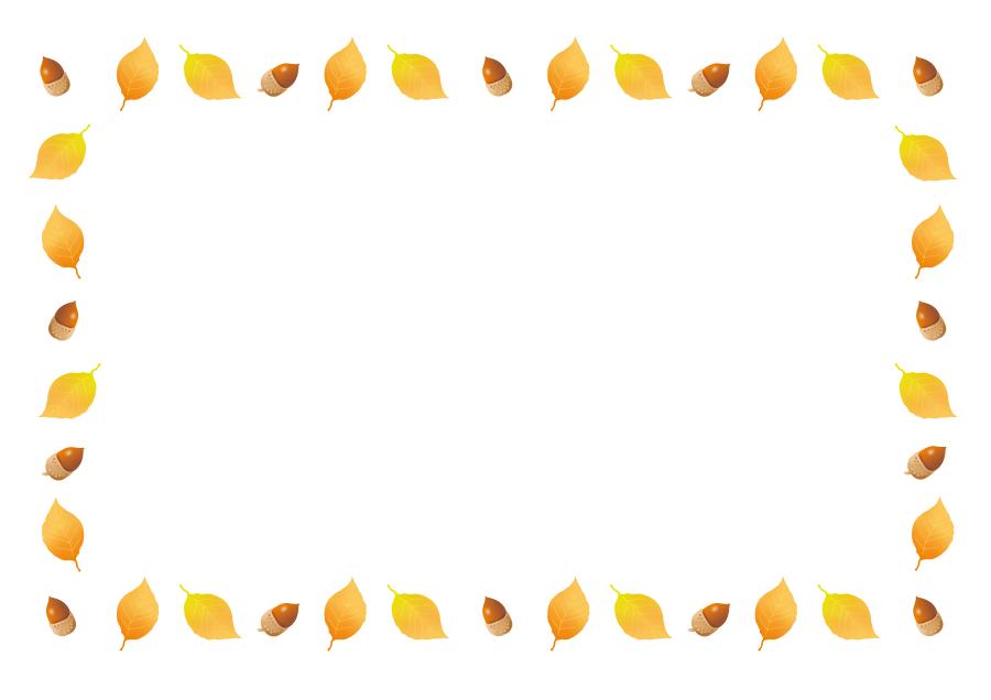 フリー イラスト黄葉した葉っぱとどんぐりのフレーム