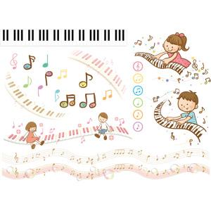 フリーイラスト, ベクター画像, AI, 音楽, 鍵盤楽器, 鍵盤, 楽譜, 音符, 演奏する, 男の子, 女の子, 子供