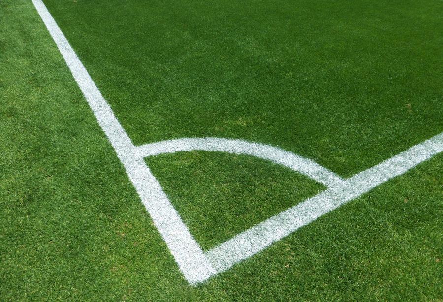 フリー 写真サッカーグランドのコーナーエリア