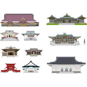 フリーイラスト, ベクター画像, AI, 建造物, 建築物, 神社, 寺院, お寺(仏閣), 日本神道, 仏教
