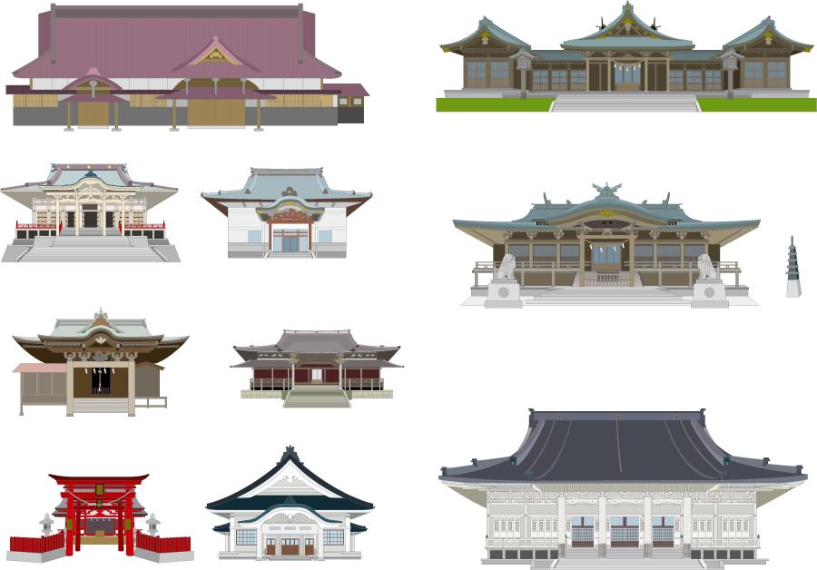 フリー イラスト神社とお寺の建物セット