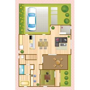 フリーイラスト, ベクター画像, EPS, 建造物, 建築物, 住宅, 家(一軒家), マイホーム
