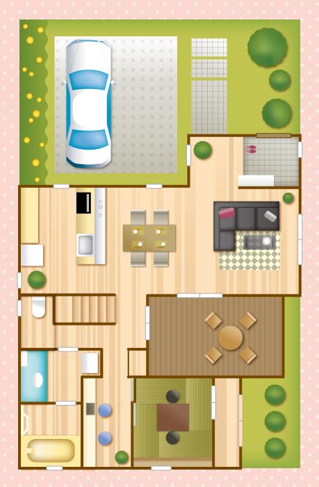 フリー イラストマイホームの平面図