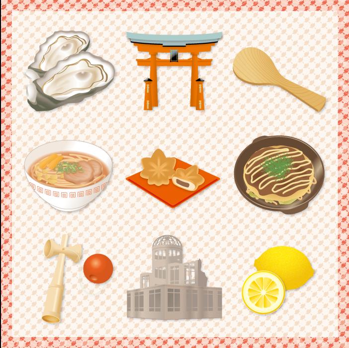 フリー イラスト広島県の観光地と名産品