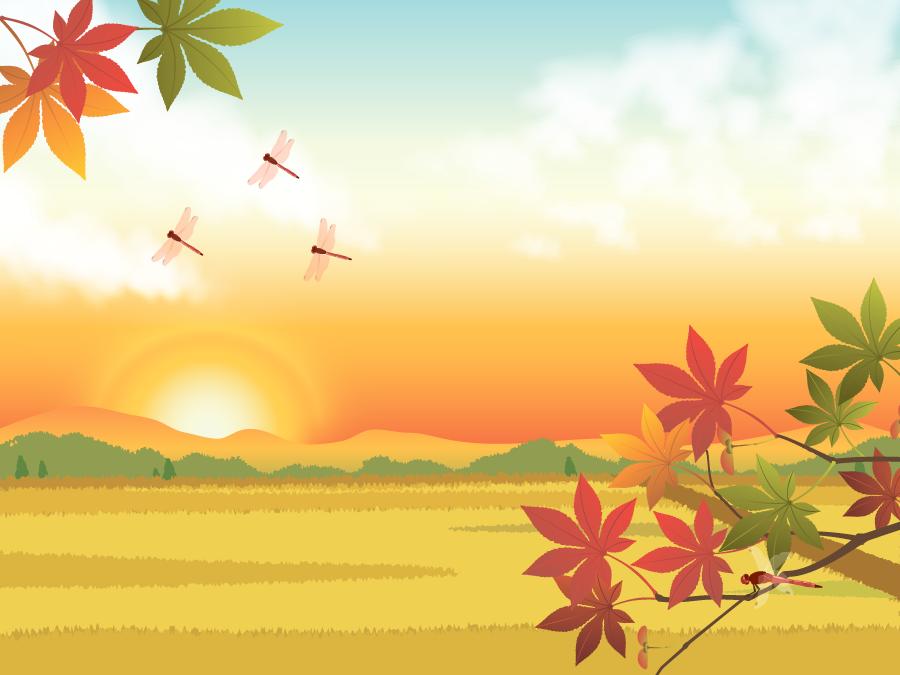 フリー イラスト紅葉と夕焼けと赤とんぼの飛ぶ田園風景