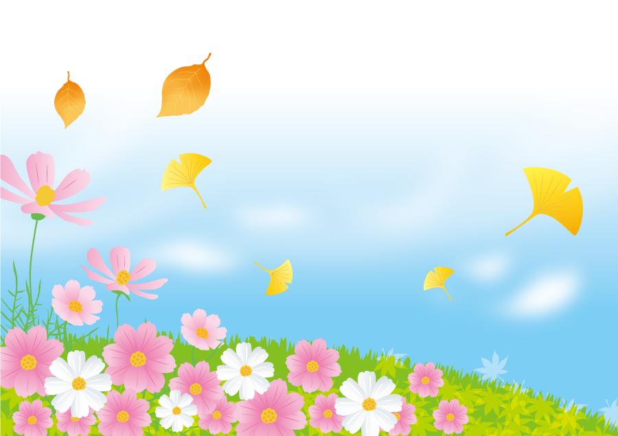 フリー イラストコスモスの花が咲く丘と舞い散る落葉