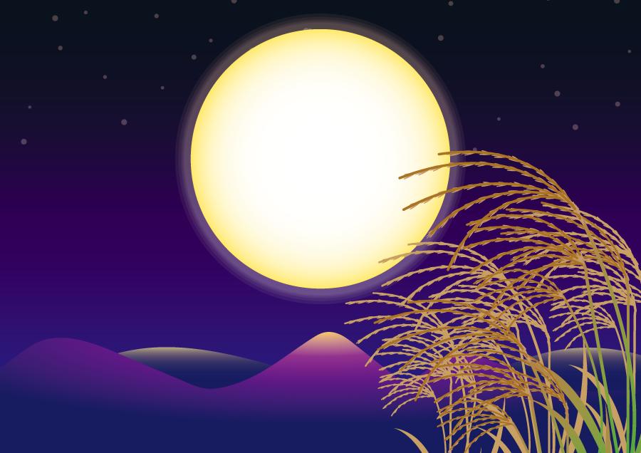 フリー イラスト月夜とススキと風景