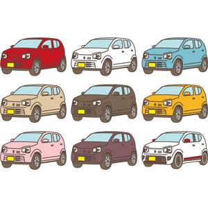 フリーイラスト, ベクター画像, AI, 乗り物, 自動車, 軽自動車, スズキ, スズキ・アルト