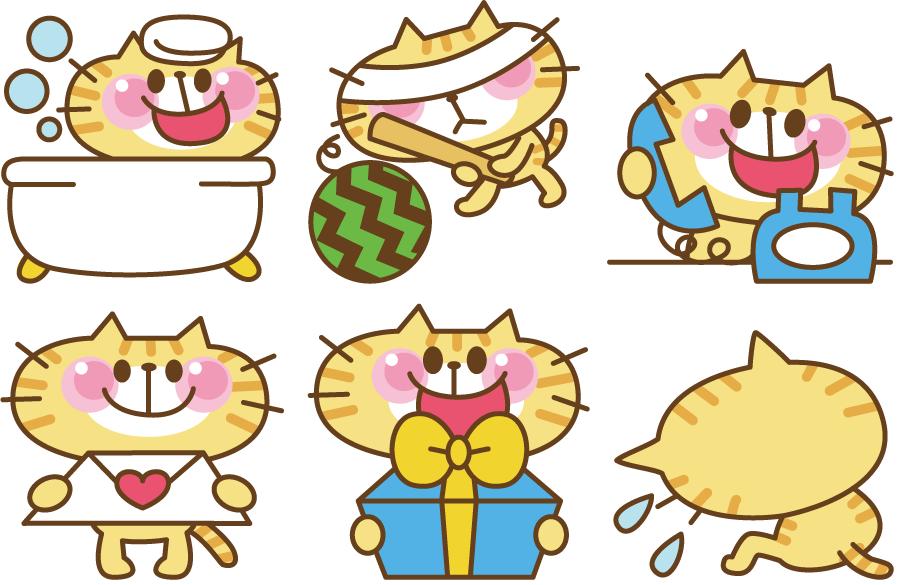 フリー イラスト様々な場面の猫のセット