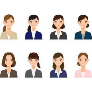 フリーイラスト, ベクター画像, AI, 人物, 女性, ビジネス, ビジネスウーマン, OL(オフィスレディ), レディーススーツ, 職業, 仕事