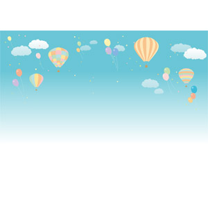 フリーイラスト, ベクター画像, AI, 風景, 空, 青空, 熱気球, 風船, 紙吹雪