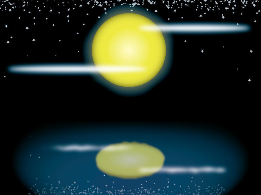 フリー イラスト満月の風景