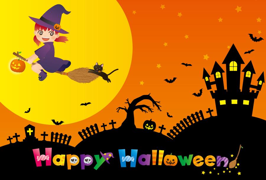フリー イラスト空飛ぶ魔女とハロウィンの背景