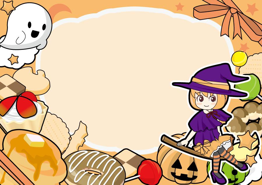 フリー イラスト魔女とお化けとお菓子のハロウィンフレーム