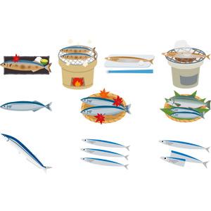 フリーイラスト, ベクター画像, AI, 食べ物(食料), 魚介料理, 焼き魚, 動物, 魚類, 魚(サカナ), 秋刀魚(サンマ), 秋