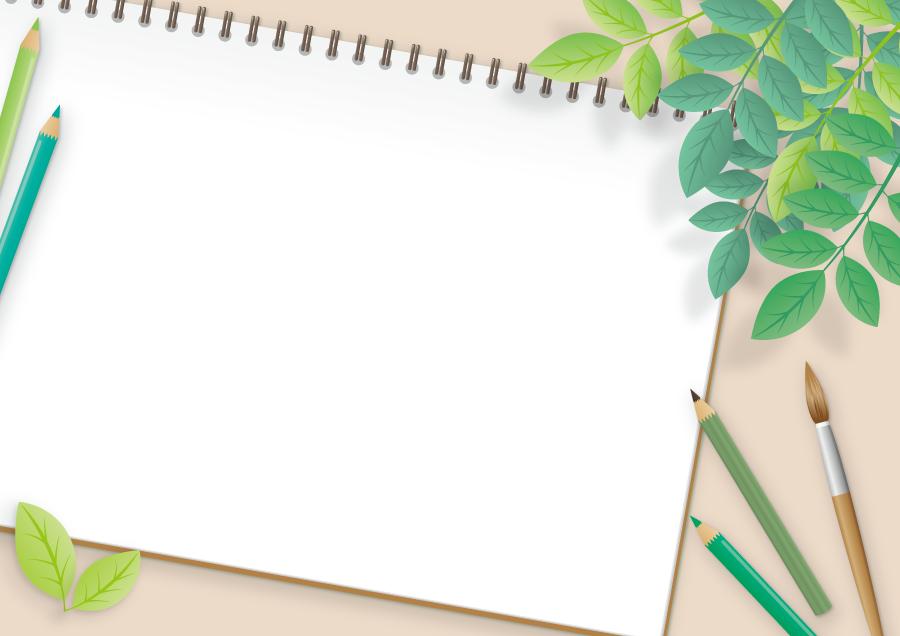 フリー イラスト植物の葉っぱと画材とスケッチブック