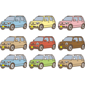 フリーイラスト, ベクター画像, AI, 乗り物, 自動車, 軽自動車, ダイハツ, ダイハツ・ミラココア
