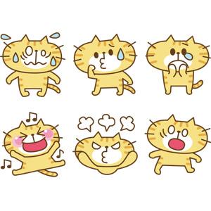 フリーイラスト, ベクター画像, EPS, 動物, 哺乳類, 猫(ネコ), 猫(00008), 困る(動物), 泣く(動物), 喜ぶ(動物), 怒る(動物), 驚く(動物)