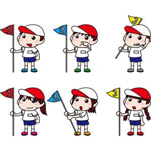 フリーイラスト, ベクター画像, EPS, 年中行事, 運動会(体育祭), 10月, 学校, 人物, 子供, 男の子, 女の子, 学生(生徒), 小学生, 順位旗(等旗), 賞, 一位(優勝), 二位, 三位, 紅白帽(赤白帽)