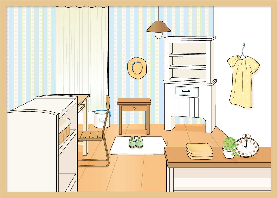 フリー イラスト女性の部屋の風景