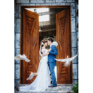 フリー写真, 人物, カップル, 花婿(新郎), 花嫁(新婦), 結婚式(ブライダル), 二人, タキシード, ウェディングドレス, 扉(ドア), 向かい合う, 抱き合う, 愛(ラブ), 鳩(ハト), 横顔