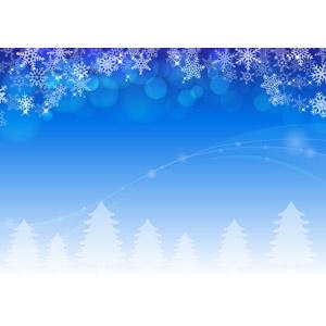 フリーイラスト, ベクター画像, AI, 背景, 冬, 雪, 雪の結晶, 玉ボケ, 樹木, 森林, 波線, 青色(ブルー)