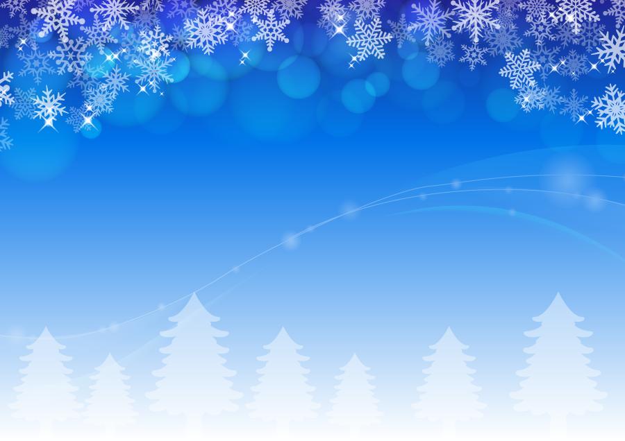 フリー イラスト雪の結晶と玉ボケと雪を被った木々の背景