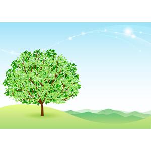 フリーイラスト, ベクター画像, AI, 背景, エコロジー, 自然, 樹木, 山, 青空, 波線