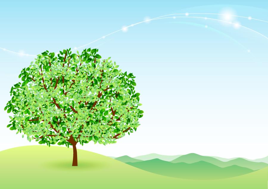 フリー イラスト一本の緑の木と遠くの山脈がある背景