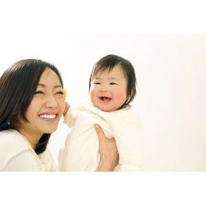フリー写真, 人物, 親子, お母さん(母親), 子供, 赤ちゃん, 笑う(笑顔), 二人, 女性(00015), 日本人